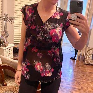 Joie | sheer floral sleeveless blouse